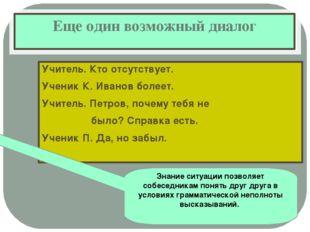 Еще один возможный диалог Учитель. Кто отсутствует. Ученик К. Иванов болеет.