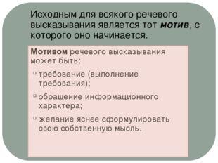 Мотивом речевого высказывания может быть: требование (выполнение требования);