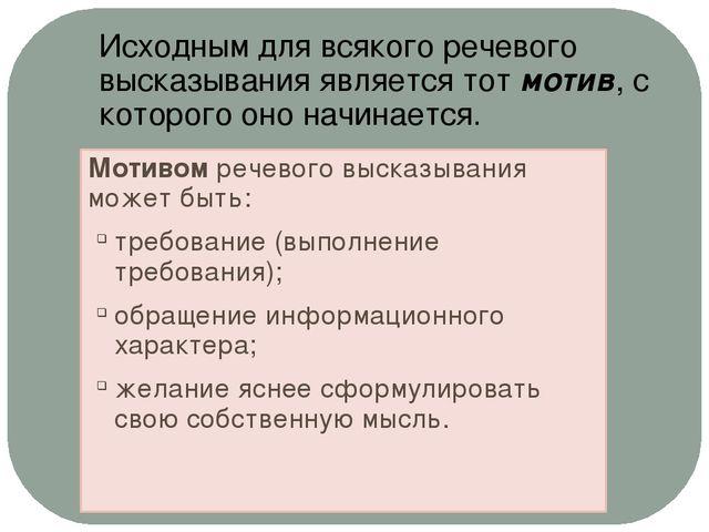 Мотивом речевого высказывания может быть: требование (выполнение требования);...