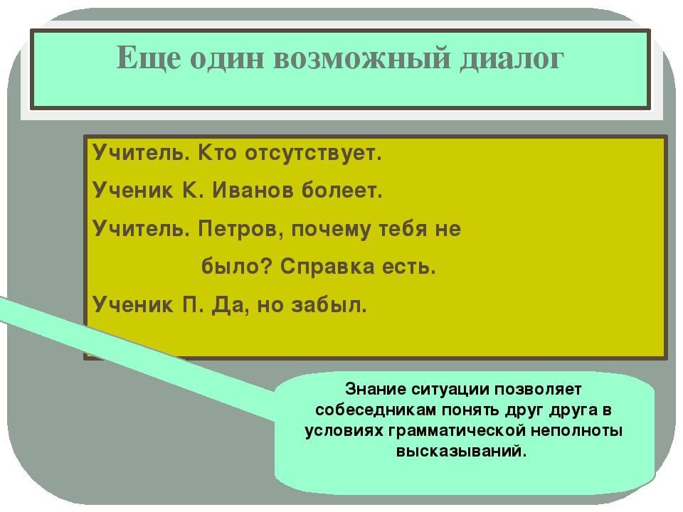 Еще один возможный диалог Учитель. Кто отсутствует. Ученик К. Иванов болеет....