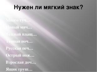 Нужен ли мягкий знак? Много туч… Новый мяч… Теплый плащ… Темная ноч… Русская