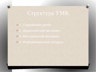 Структура УМК 1. Содержание урока. 2. Дидактический материал. 3. Методический