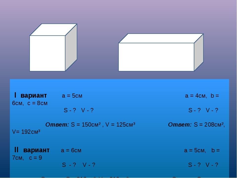 I вариант а = 5см а = 4см, b = 6см, с = 8см S - ? V - ? S - ? V - ? Ответ: S...
