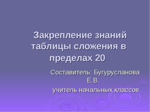 Закрепление знаний таблицы сложения в пределах 20 Составитель: Бугурусланова