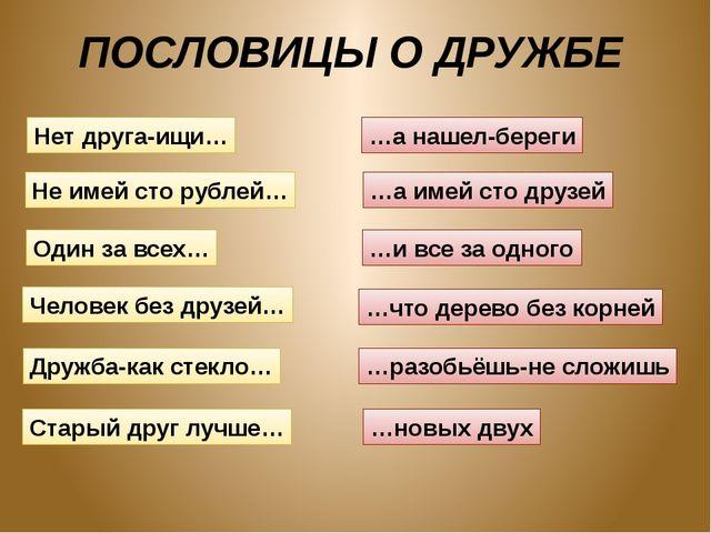 ПОСЛОВИЦЫ О ДРУЖБЕ Нет друга-ищи… Не имей сто рублей… Один за всех… Человек б...