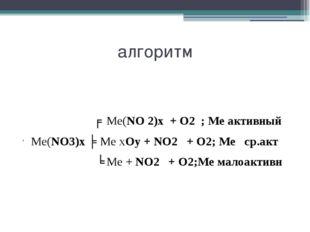 алгоритм ╒ Ме(NO 2)х + О2 ; Ме активный Ме(NO3)х ╞ Ме хOу + NO2 + О2; Ме ср.а