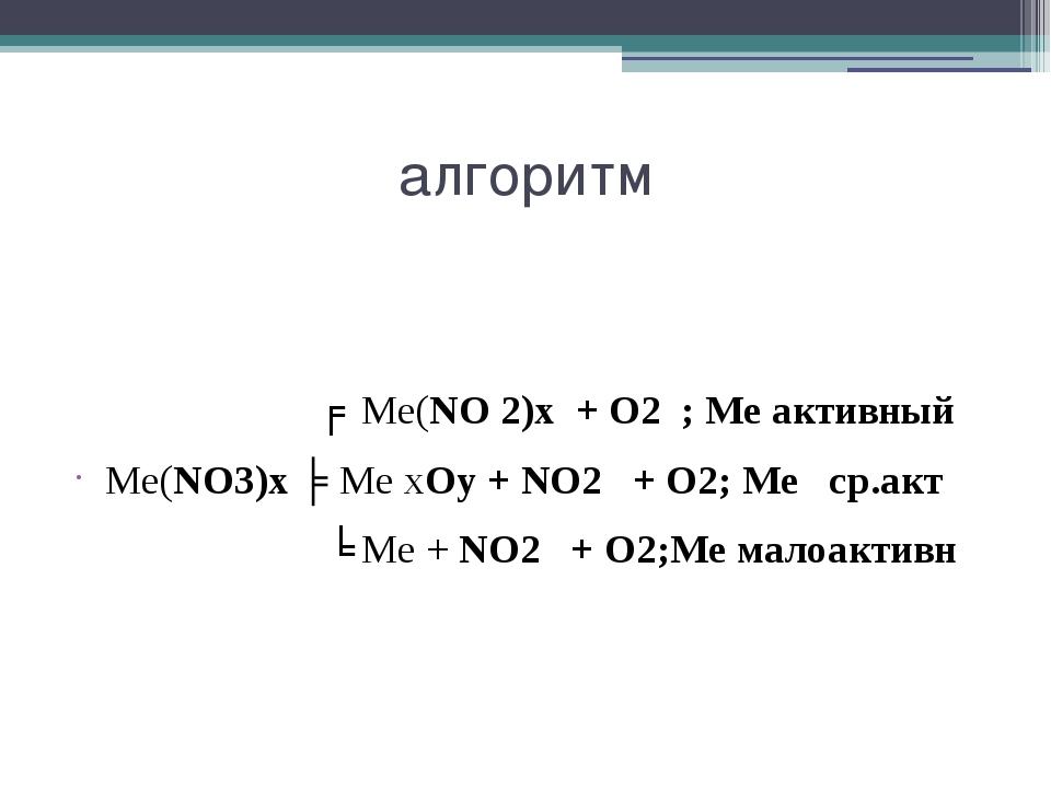 алгоритм ╒ Ме(NO 2)х + О2 ; Ме активный Ме(NO3)х ╞ Ме хOу + NO2 + О2; Ме ср.а...