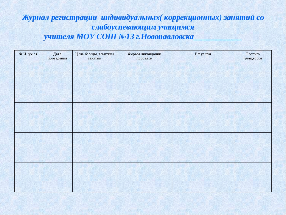 Журнал регистрации индивидуальных( коррекционных) занятий со слабоуспевающим...