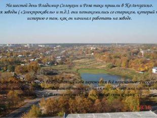 На шестой день Владимир Солоухин и Роза таки пришли в Кольчугино. Изучая зав