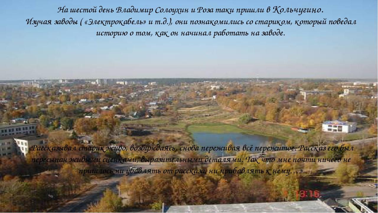 На шестой день Владимир Солоухин и Роза таки пришли в Кольчугино. Изучая зав...