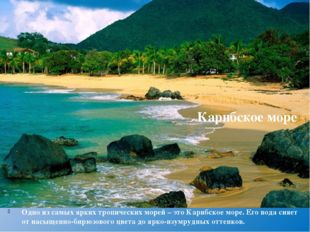 Одно из самых ярких тропических морей – этоКарибское море. Его вода сияет от