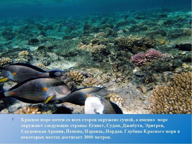 Красное море почти со всех сторон окружено сушей, а именно море окружают сле...