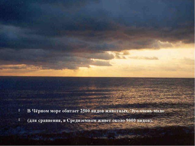 В Чёрном море обитает 2500 видов животных. Это очень мало (для сравнения, в С...