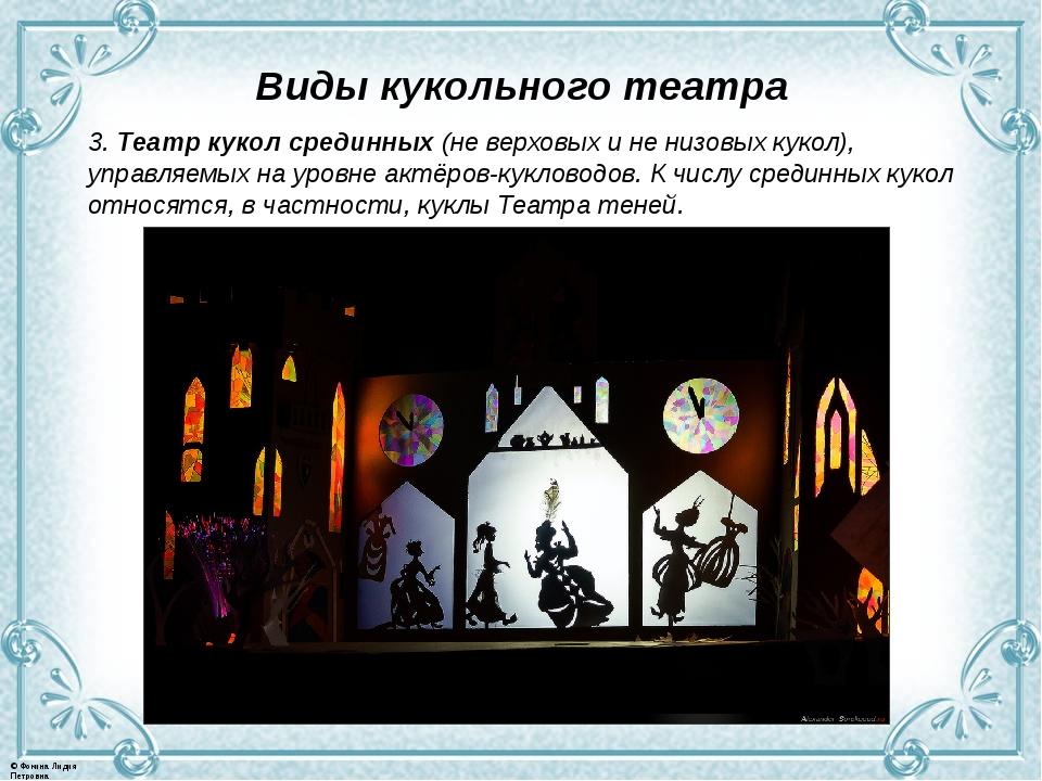 Виды кукольного театра 3. Театр кукол срединных (не верховых и не низовых кук...