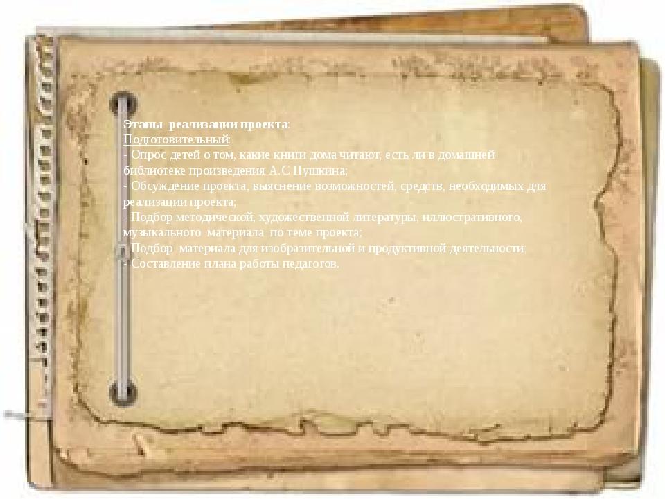 Этапы реализации проекта: Подготовительный: - Опрос детей о том, какие книги...