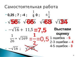0,25 ; 7 ; -4 ; ; 0 ; 0,25 ; 7 ; -4 ; ; 0 ; 56 66 68 34 =7,5 = =0,5 Выстави о