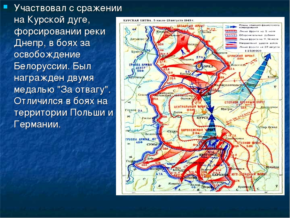 Участвовал с сражении на Курской дуге, форсировании реки Днепр, в боях за осв...