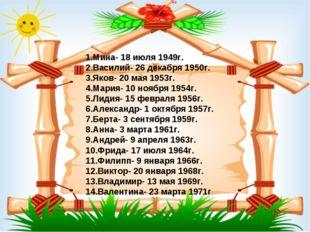 1.Мина- 18 июля 1949г. 2.Василий- 26 декабря 1950г. 3.Яков- 20 мая 1953г. 4.М