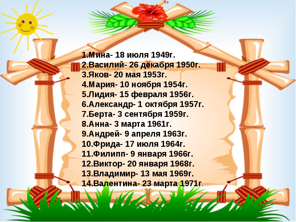 1.Мина- 18 июля 1949г. 2.Василий- 26 декабря 1950г. 3.Яков- 20 мая 1953г. 4.М...