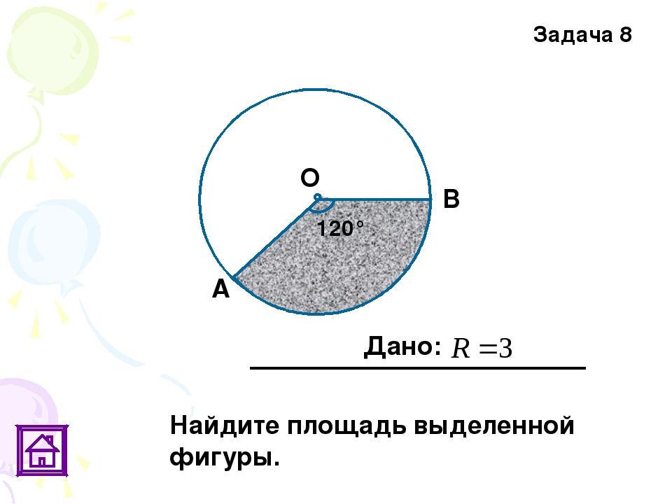Задача 8 120° Дано: В О А Найдите площадь выделенной фигуры.