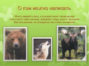 О ком можно написать Много зверей в лесу, и каждый занят своим делом. Они стр