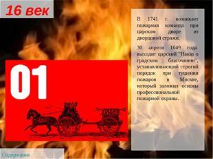 В 1741 г. возникает пожарная команда при царском дворе из дворцовой стражи. 3
