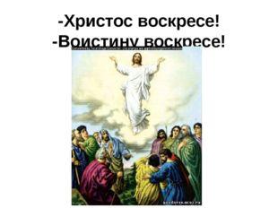 -Христос воскресе! -Воистину воскресе!