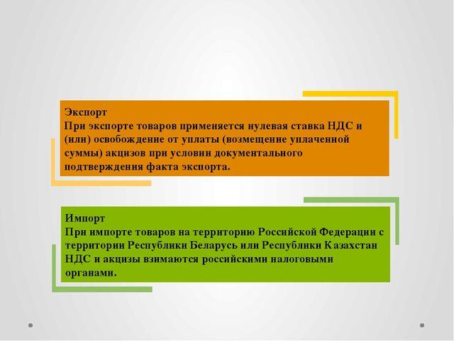 Экспорт При экспорте товаров применяется нулевая ставка НДС и (или) освобожд...