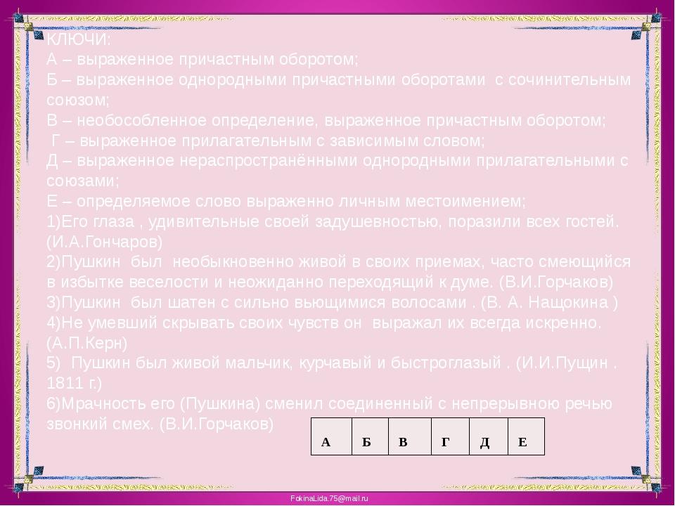 КЛЮЧИ: А – выраженное причастным оборотом; Б – выраженное однородными причаст...