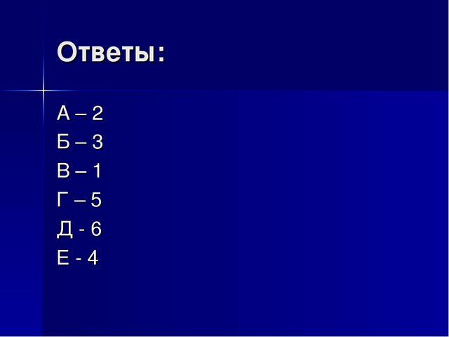Ответы: А – 2 Б – 3 В – 1 Г – 5 Д - 6 Е - 4