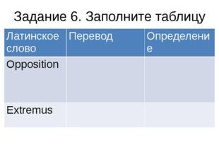 Задание 6. Заполните таблицу Латинское слово Перевод Определение Opposition E
