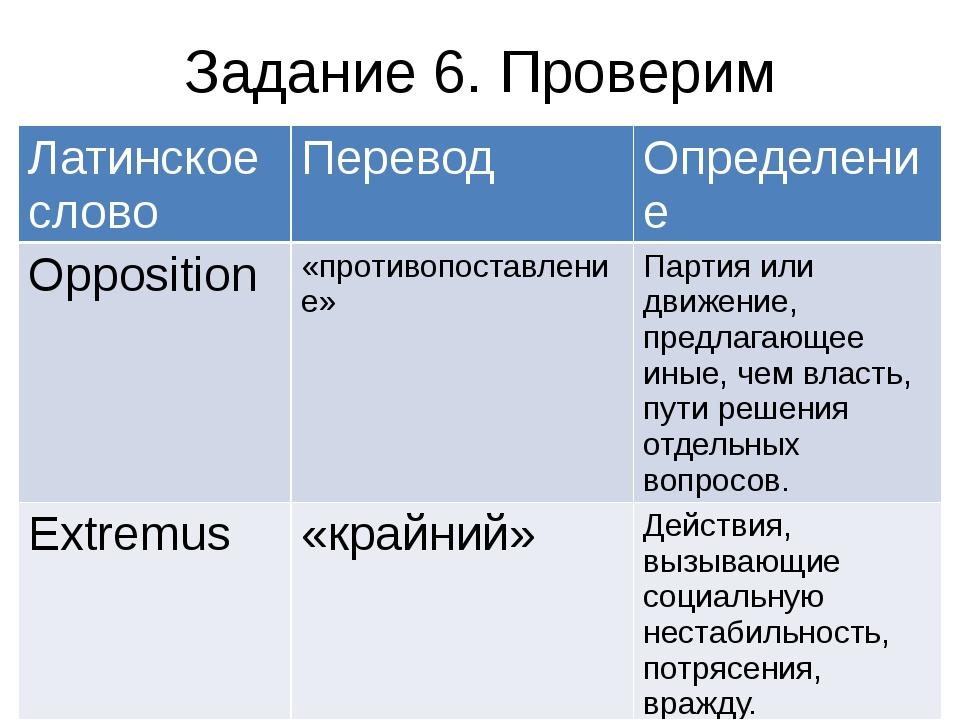Задание 6. Проверим Латинское слово Перевод Определение Opposition «противопо...