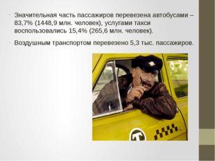 Значительная часть пассажиров перевезена автобусами – 83,7% (1448,9 млн. чело