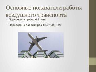 Основные показатели работы воздушного транспорта Перевезено грузов 6.6 тонн П