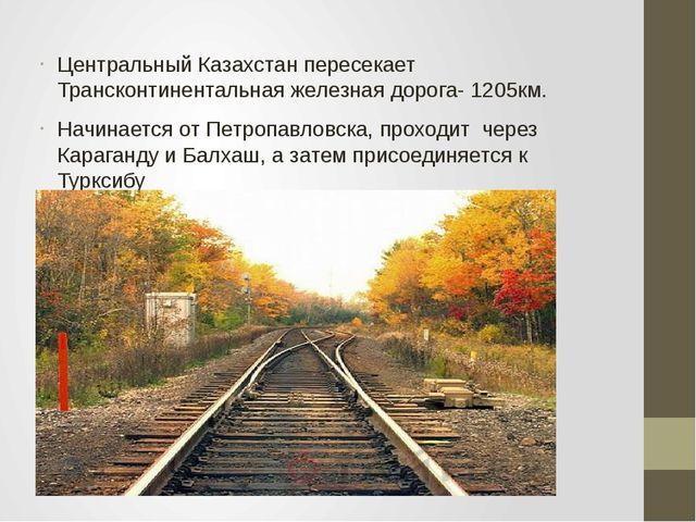 Центральный Казахстан пересекает Трансконтинентальная железная дорога- 1205км...
