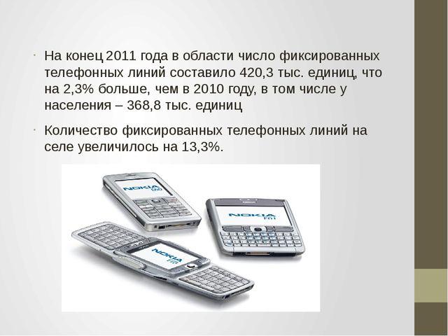 На конец 2011 года в области число фиксированных телефонных линий составило 4...