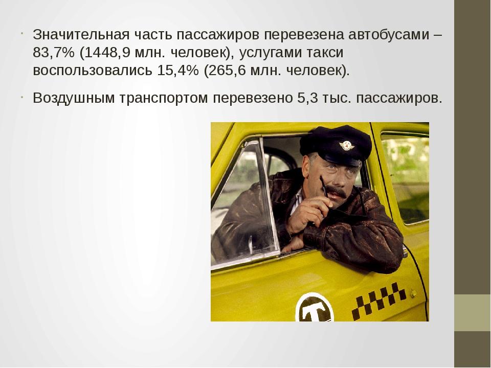 Значительная часть пассажиров перевезена автобусами – 83,7% (1448,9 млн. чело...