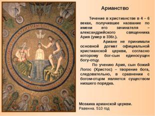 Арианство Течение в христианстве в 4 – 6 веках, получившее название по имени
