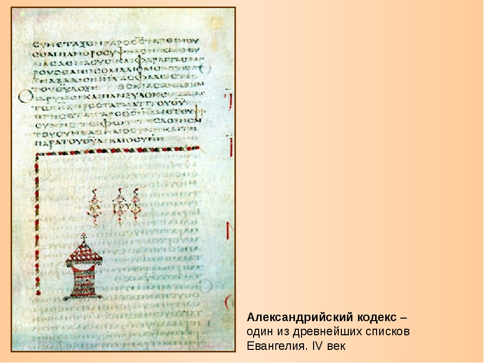Александрийский кодекс – один из древнейших списков Евангелия. IV век