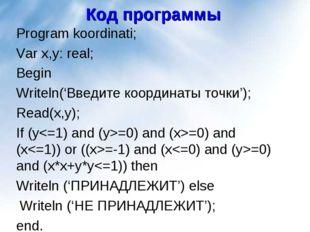 Код программы Program koordinati; Var x,y: real; Begin Writeln('Введите коорд