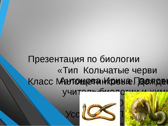 Презентация по биологии «Тип Кольчатые черви Класс Малощетинковые. Дождевой...