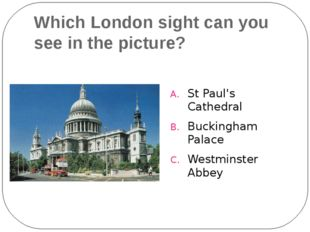 Which London sight can you see in the picture? St Paul's Cathedral Buckingham