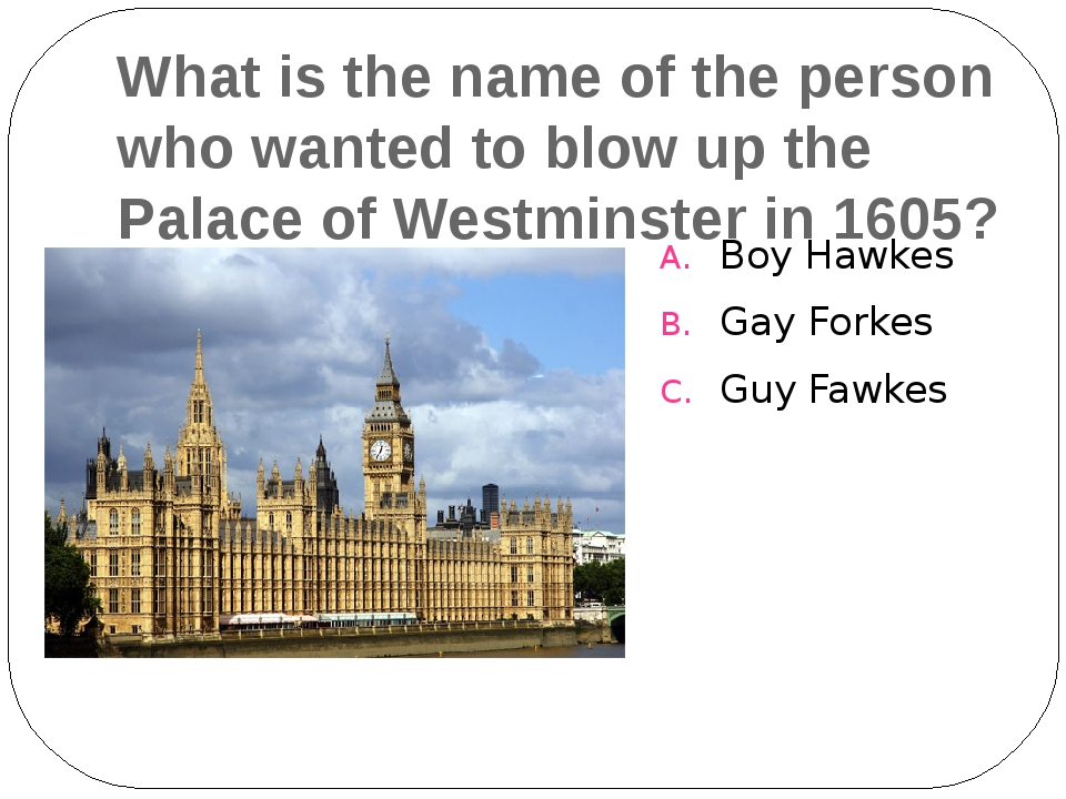What is the name of the person who wanted to blow up the Palace of Westminste...