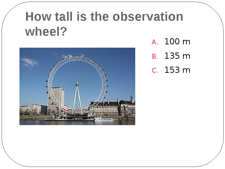 How tall is the observation wheel? 100 m 135 m 153 m