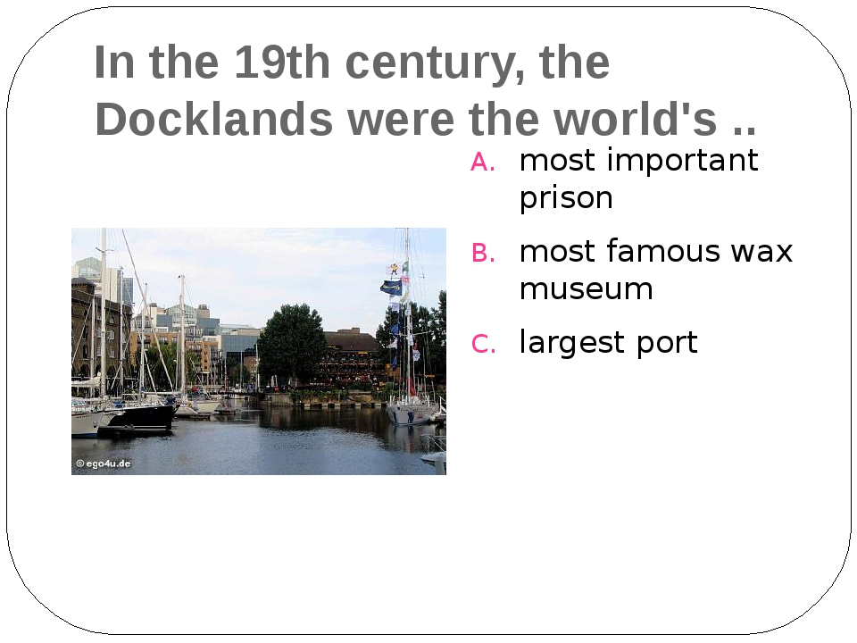 In the 19th century, the Docklands were the world's .. most important prison...