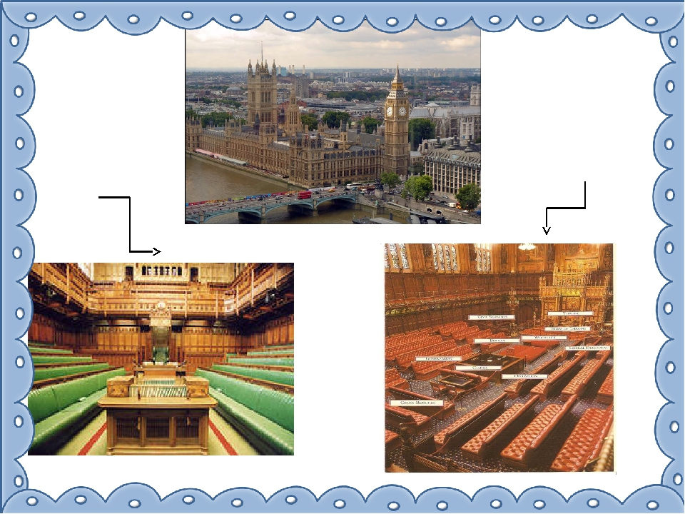 The House of Lords – the seats are red The House of Commons – the seats are g...