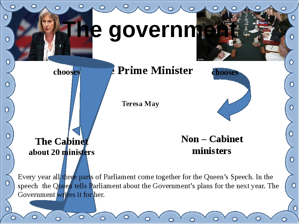 The government The Prime Minister Teresa May chooses chooses The Cabinet abou...