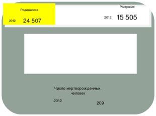 Родившиеся 2012 24 507 Умершие 2012 15 505 Число мертворожденных, человек 2