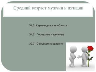 Средний возраст мужчин и женщин 34,3 Карагандинская область 34,7 Городское н