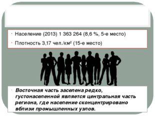 Население (2013) 1 363 264 (8,6 %, 5-е место) Плотность 3,17 чел./км² (15-е